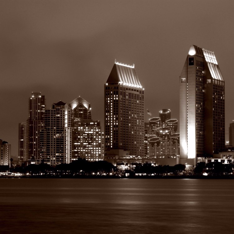 downtown SD at night