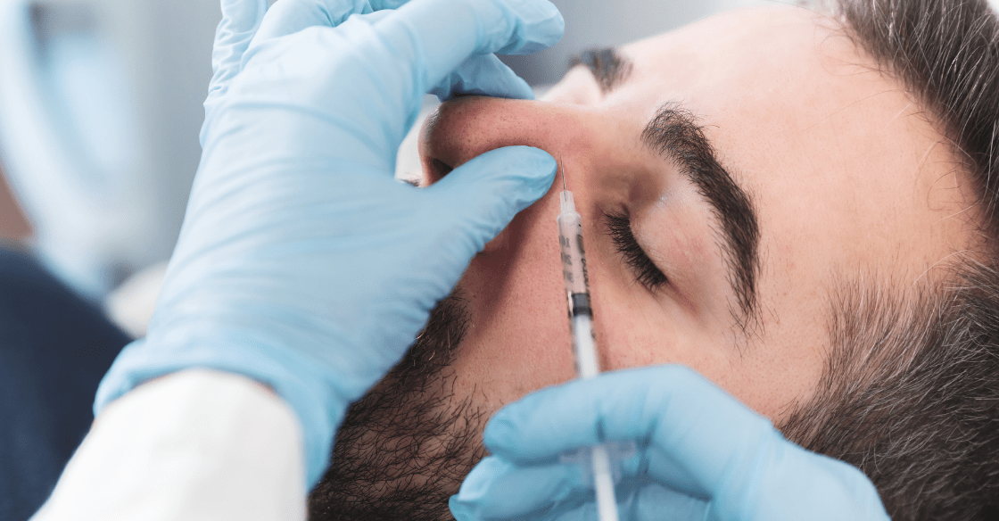 Dermal filler being injected into the nose