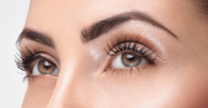 Closeup on women's full eyelashes